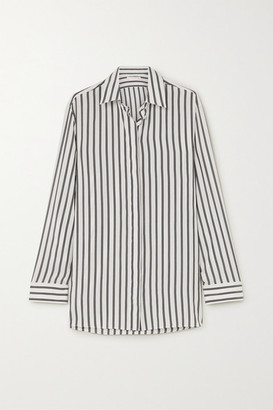 The Row Big Sisea Striped Silk Shirt - White