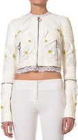 Just Cavalli Embroidered Leather Jacket, White