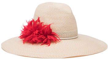 Eugenia Kim Carmen Feather-Trim Sun Hat, Ivory