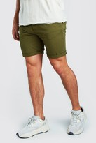 boohoo Mens Green Skinny Fit Chino Short In Mid Length, Green