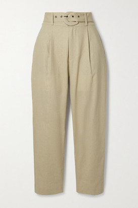 Anine Bing Elyse Belted Linen And Cotton-blend Straight-leg Pants - Beige