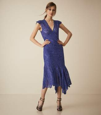 Reiss Anastasia - Lace Overlay Flute Hem Midi Dress in Cobalt