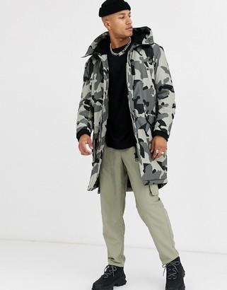 Asos Design DESIGN hooded parka jacket in ecru camo print-Beige
