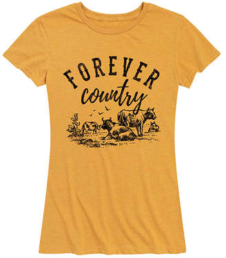 Instant Message Women's Women's Tee Shirts HEATHER - Heather Golden Meadow 'Forever Country' Relaxed-Fit Tee - Women