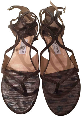 Jimmy Choo Lance Brown Leather Sandals