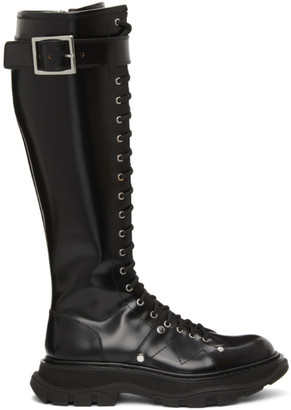 Alexander McQueen Black Tread Slick Lace-Up Tall Boots