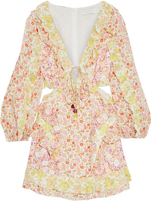 Zimmermann Goldie Spliced Cutout Ruffled Floral-print Linen Mini Dress