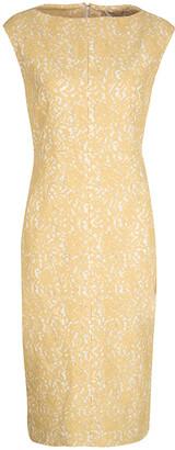 N°21 N21 Yellow Lace Sleeveless Midi Sheath Dress M