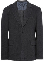 MP Massimo Piombo - Charcoal Slim-fit Herringbone Virgin Wool-blend Blazer - Charcoal