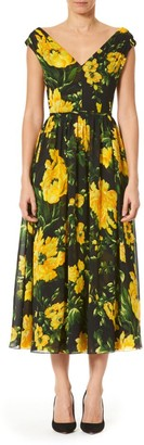 Carolina Herrera Floral V-Neck A-Line Midi Dress