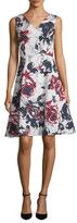 Carolina Herrera Printed V-Neck Flare Dress
