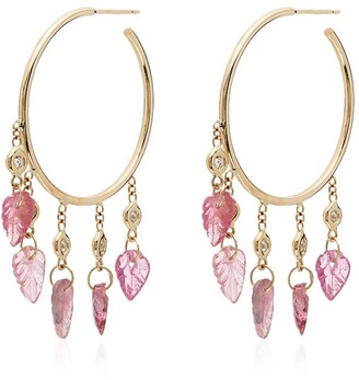 Jacquie Aiche 14kt gold and diamond leaf charm earrings