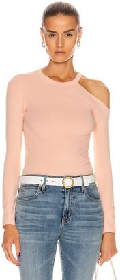Enza Costa for FWRD Exposed Shoulder Top in Peach Cream | FWRD
