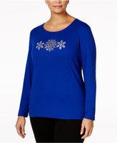 Karen Scott Plus Size Snowflake Graphic Top, Only at Macy's