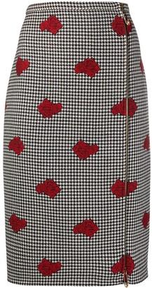 Versace Houndstooth rose print skirt