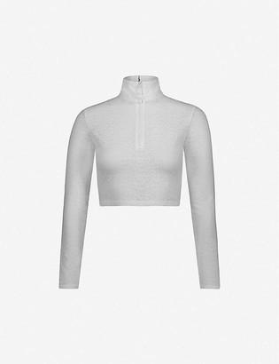Adam Selman Sport Zip-up stretch-lace crop top