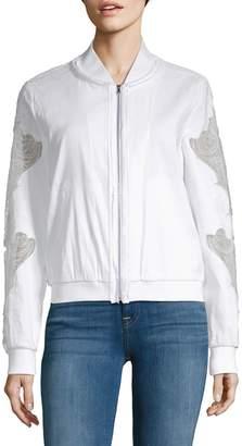 Kobi Halperin Zandra Baseball Collar Lace-Sleeve Jacket