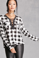 Forever 21 FOREVER 21+ Twelve Plaid Lace-Up Top