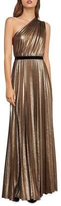 BCBGMAXAZRIA Metallic Pleated One-Shoulder Gown