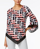 Alfani Angel-Sleeve V-Hem Top, Only at Macy's