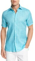 Ermenegildo Zegna Over-Dyed Linen Short-Sleeve Sport Shirt, Aqua