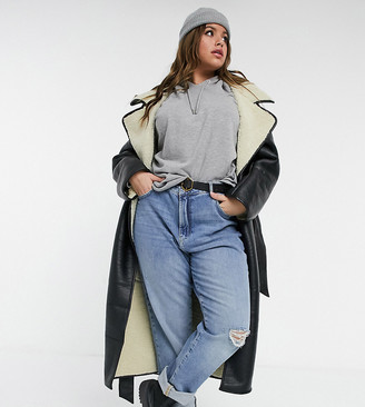 ASOS DESIGN Curve belted longline leather look coat in black and cream