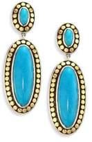 John Hardy Dot Turquoise & 18K Yellow Gold Oval Drop Earrings