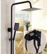 W&P Bathroom Blak Shower Set Wall Mounted Rainfall Shower Mixer Tap Fauet Antique Retro Hot & old Water Shower Set