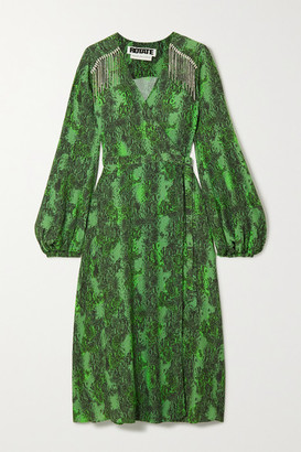 Rotate by Birger Christensen Kira Crystal-embellished Snake-print Crepe Wrap Dress - Green