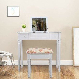 Sharla Vanity Set with Stool Table and Mirror Red Barrel Studio