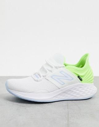 New Balance Running Fresh Foam Roav trainers in white and green