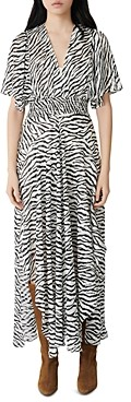 Maje Zebra Print Maxi Wrap Dress