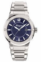 Salvatore Ferragamo 44mm F-80 Men's Brushed Stainless Steel Watch, Blue