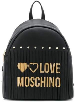 Love Moschino logo fringed backpack