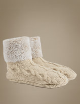 Marks and Spencer Fleece Cable Knit Short Booties