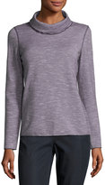 Lafayette 148 New York Striped Turtleneck Sweater, Truffle