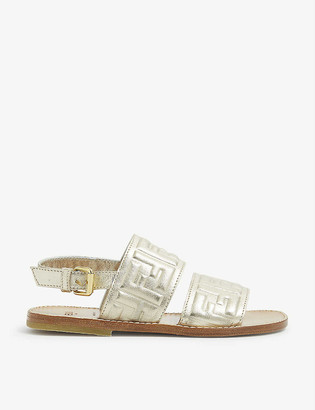 Fendi FF embossed leather sandals 7-9 years