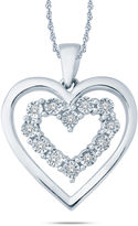 FINE JEWELRY Womens Diamond Accent White Diamond Accent Sterling Silver Pendant Necklace