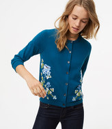 LOFT Blossom Embroidered 3/4 Sleeve Signature Cotton Cardigan