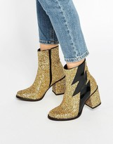 House of Holland Thunder Gold Glitter Heeled Ankle Boots