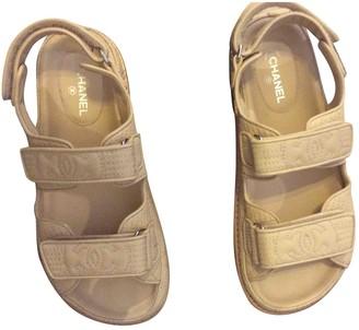 Chanel Dad Sandals Beige Leather Sandals