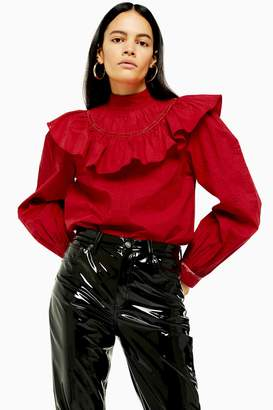 Topshop Womens Red Yoke Pintuck Blouse - Red