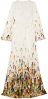 Jenny Packham Printed Satin Wrap Gown - Ivory