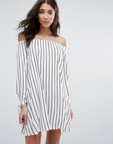 Daisy Street Striped Off The Shoulder Dress