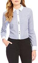 Ivanka Trump Point Collar Shirttail Hem Contrast Trim Striped Shirt