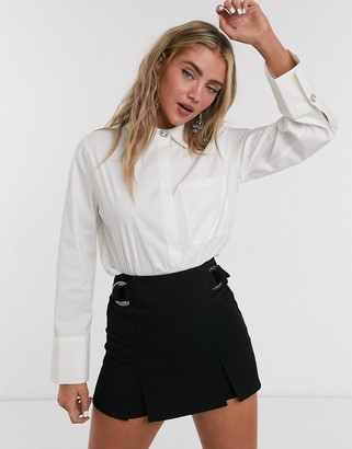 Object shirt with diamante button detailing and deep cuff in white