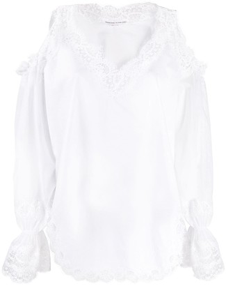 Ermanno Scervino embroidered trim cold shoulder blouse