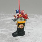 Kurt Adler 1 X FIREMAN BOOT ORNAMENT - Christmas Ornament