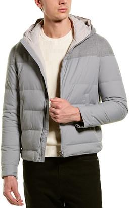 Brunello Cucinelli Hooded Puffer Wool-Blend Down Coat