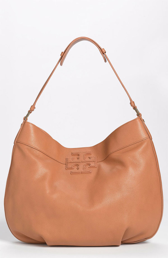 Tory Burch 'Stacked T' Hobo Royal Tan
